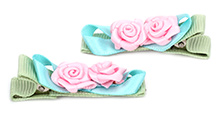 NeedyBee Hair Clip Rose Applique - Pack Of 2