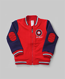 Red & Navy Zipper Winter Jacket - 18-24 Months
