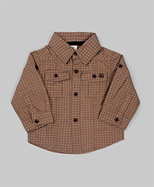 Brown Polka Dots Roll Up Sleeves Shirt