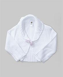 Cute Woolen Shrug - White