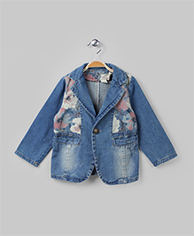Denim Blue Floral Convertible Collar Jacket
