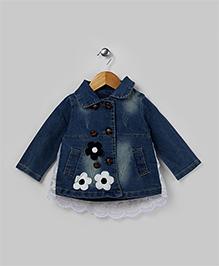 Blue Floral Applique Denim Tunic