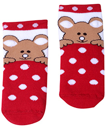 Mustang Ankle Length Socks Red - Teddy Print