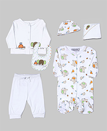 White 6 Pcs Animal Layette Set