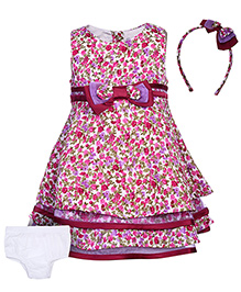 Nauti Nati Sleeveless Frock With Hair Band And Bloomer - Mauve - 12 To 18 Months