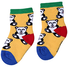 Mustang Ankle Length Socks Yellow - Teddy Print
