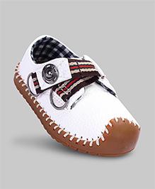 Cotton White Faux Leather Shoes