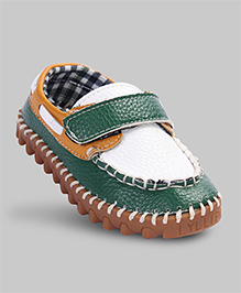 Green & White Faux Leather Shoes