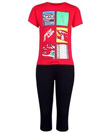 Disney Half Sleeves T-Shirt And Legging - Car Print