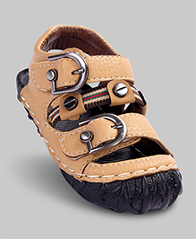 Apricot Buckled Faux Leather Sandals