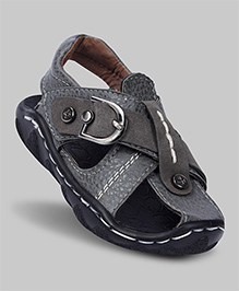 Charcoal Grey Faux Leather Sandals