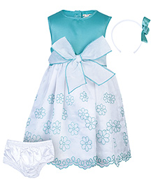 Nauti Nati Sleeveless Frock With Hair Band And Bloomer - Floral