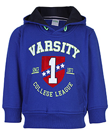 Babyhug Full Sleeve Hooded Sweatshirt - Varsity 1 Print