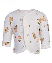 Pink Rabbit Front Open Vest - Teddy With Guitar Print