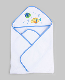 White & Blue Hooded Towel With Wash Cloth