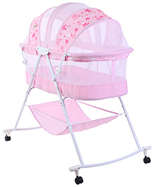 1st Step Bassinet Pink - Flower Print