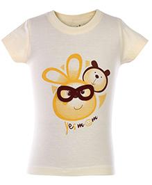 Babyhug Knitted Top Printed - Light Yellow