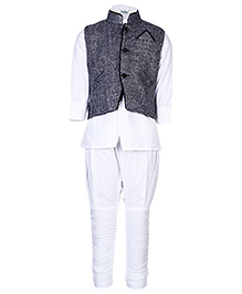Babyhug Three Piece Ethnic Wear Set - White And Grey