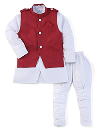 Babyhug Three Piece Ethnic Wear Set - White And Red