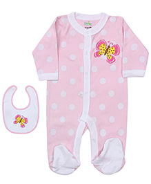 Babyhug Footed Romper With Bib - Polka Dots - 6 To 9 Months