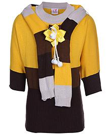 Little Kangaroos Full Sleeves Sweater With Muffler Yellow - Flower Motif