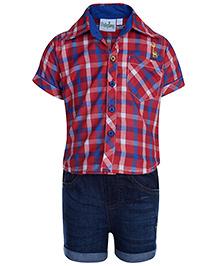 Babyhug Half Sleeve Shirt And Shorts - Checks Print