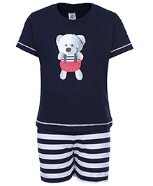 Zero Half Sleeves T-Shirt And Shorts Set - Teddy Print