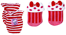 Babyhug Socks And Mittens Set - Red And White