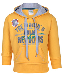 Babyhug Full Sleeve Hooded Sweatshirt - Yellow