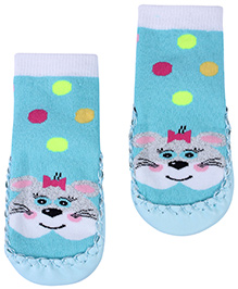 Babyhug Bootie Style Socks Aqua Blue - Rabbit Face