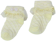 Babyhug Socks Yellow - Net Lace Detail