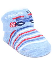 Babyhug Socks Choo Choo Print - Sky Blue