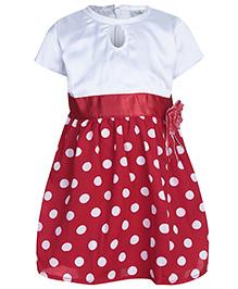 Babyhug Short Sleeves Party Frock - Polka Dots