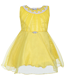 Babyhug Sleeveless Frock - Pearls And Diamond Work