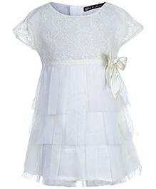 Gini & Jony Party Net Dress Cap Sleeve - Off White