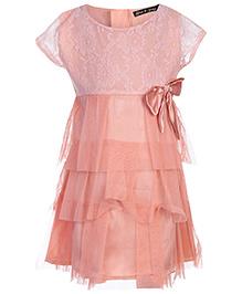Gini & Jony Party Net Dress Cap Sleeve - Kinky Peach