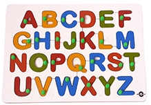 Wood O Plast Upper Case Alphabet Tray With Knobs - English