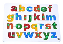 Wood O Plast Lower Case Alphabet Tray With Knobs - English