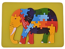 Wood O Plast Elephant Raised Puzzle Tray - 26 Pieces