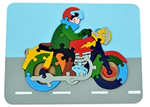Wood O Plast Motorcycle Raised Puzzle Tray - 26 Pieces