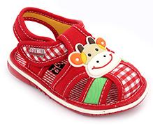 Cute Walk Baby Sandals Velcro Closure - Animal Face Applique