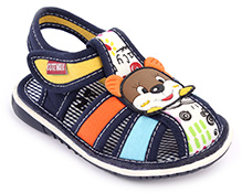Cute Walk Baby Sandals Velcro Closure - Bear Face Applique
