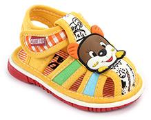 Cute Walk Baby Sandals Velcro Closure - Bear Face Applique