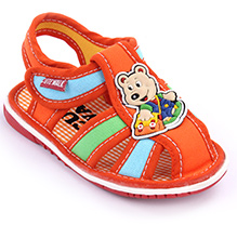 Cute Walk Baby Sandals Velcro Closure - Teddy Applique