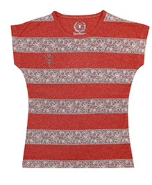 Super Young Lace Printed Striper Melange Jersey Mineral Red
