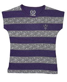 Super Young Lace Printed Striper Melange Jersey Purple