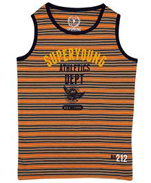 Super Young Stripe Sando Sleeveless Yarn Dyed Hoody - Orange