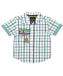 Super Young Half Sleeves Checks Print Shirt - Light Green