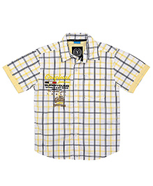 Super Young Half Sleeves Checks Print Shirt - Yellow