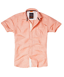 Super Young Half Sleeves Linen Dobby Shirt - Orange